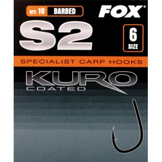 FOX háčky - S2 Kuro Hook Size 6 barbed (10ks)